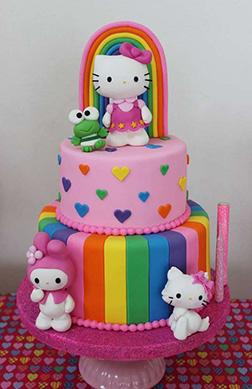 Rainbow Bloom Hello Kitty Cake