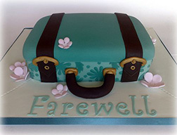 Floral Farewell Suitcase Cake
