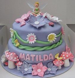 Tinkerbell Pastel Tiered Birthday Cake