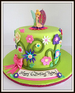 Vibrant Floral Tinkerbell Cake