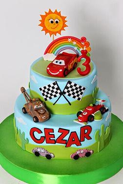Disney Cars Rainbow Race Cake