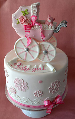 Floral Baby Pink Stroller Cake