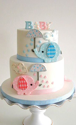 Pink & Blue Tiered Baby Elephants Cake