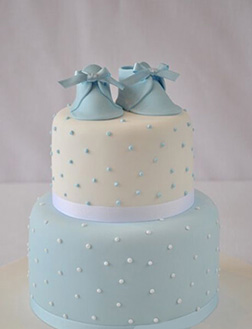 Baby Blue Slip-Ons Tiered Cake