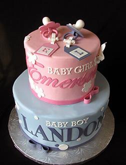 Boy & Girl Twins Tiered Cake