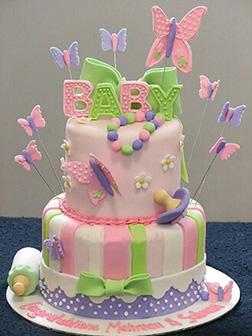Pink & Blue Butterflies Tiered Cake