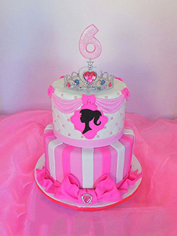 Barbie Logo Tiered Cake