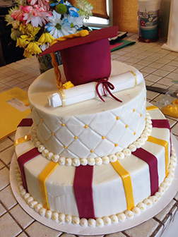Diploma and Hat Tiered Graduation Cake