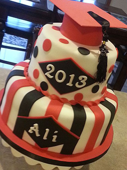 Red and Black Attack Graduation Cake