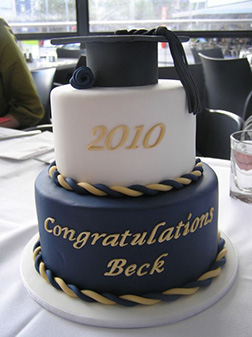 Regal Gold and Royal Blue Graduation Cake