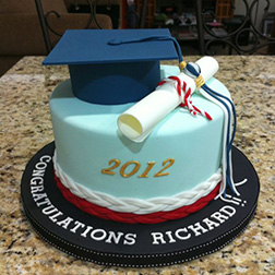 Baby Blue Cap and Diploma Graduation Cake
