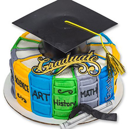 Textbook Wreath Graduation Cake