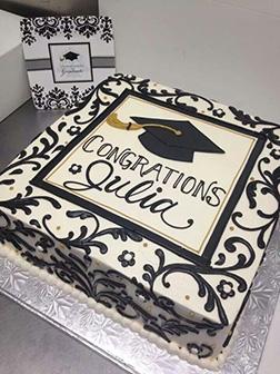 Black and White Celebration Graduation Cake