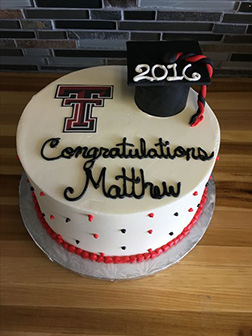 University Logo & Hat Graduation Cake
