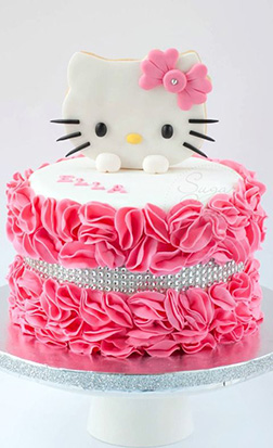 Ruffled Roses Hello Kitty Cake