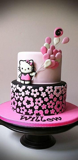 Pink and White Balloons Hello Kitty Cake