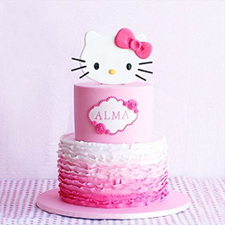 Floral Stack Hello Kitty Cake
