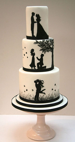 From When We Met Silhouette Wedding Cake