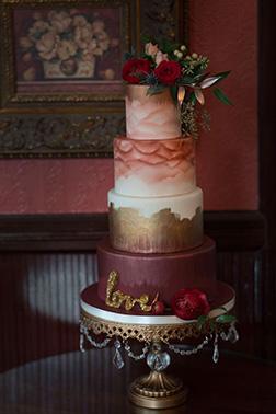 Ombre Waterpaint Wedding Cake