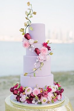 Lavender Flower Ladder Wedding Cake