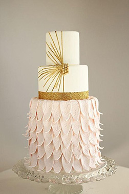 Ruffled Gold Tiered Wedding Cake