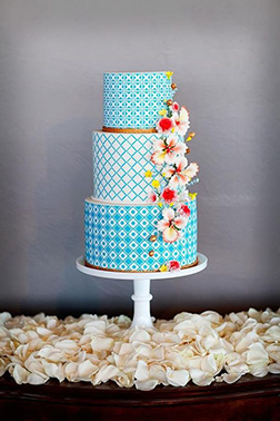 Alternating Blues Stack Wedding Cake