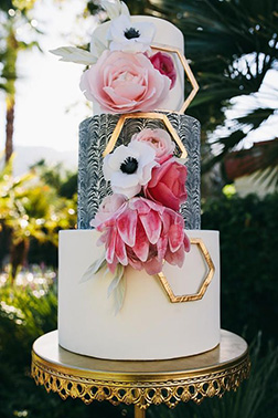 Abstract Rose Stack Wedding Cake