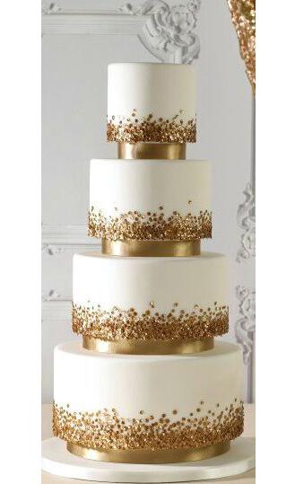 Gold Crystal Stack Wedding Cake
