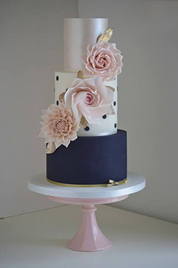 Artistic Rose Tiered Wedding Cake