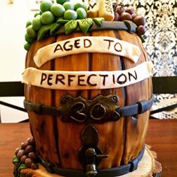 Aged To Perfection Wine Barrel Birthday Cake