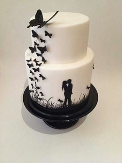Butterfly Silhouette Wedding Cake