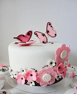 Pink Butterflies and Flowers  Cake