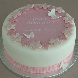 Soft Pink and White Butterfly Cake