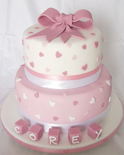 Polka Hearts Baby Cake