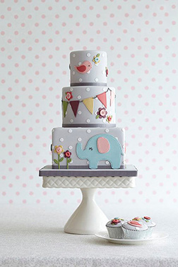 Polka Dot Tiered Christening Cake