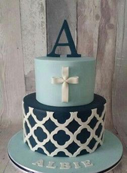 Modern Boys Christening Cake