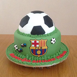 FC Barcelona Emblem and Ball Cake