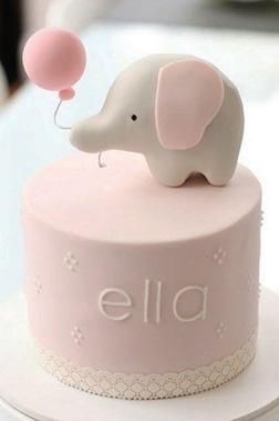Pink Baby Elephant Cake