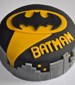 Batman Signal Over Gotham Cake
