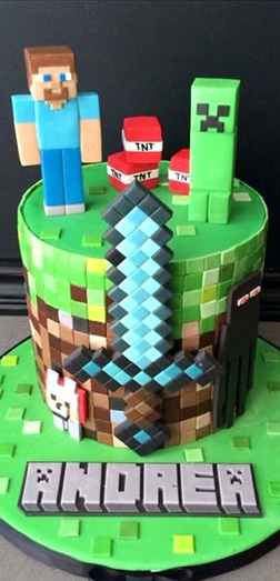 Steve and Creeper Minecraft Stack Cake