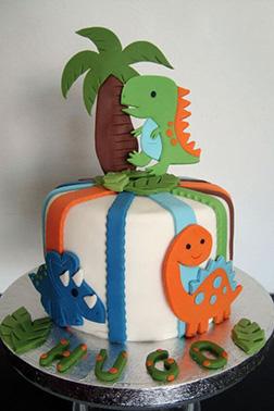 Baby Dino Cutout Cake