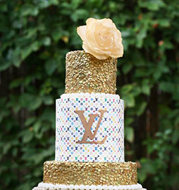 LV Inspired Tiered Cake