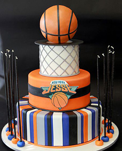 Alley Oop Tiered Basketball Cake