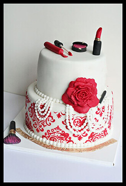 Makeup & Beauty 2 Tiered Cake