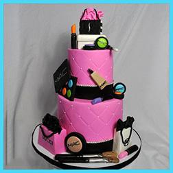 Makeup Shopping Tiered Cake