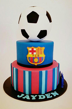 Barcelona FC Tiered Football Cake 1