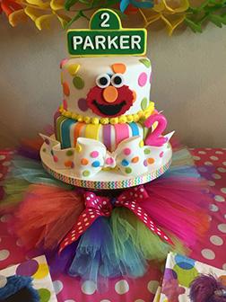 Polka Dots & Stripes Elmo Cake