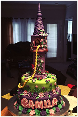 Rapunzel's Tower in the Forest Tiered Cake