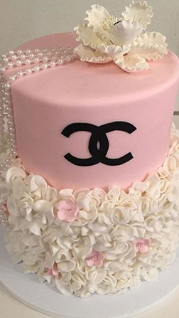 Chanel Rosette Tiered Cake