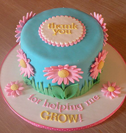 Pink Daisies Thank You Cake